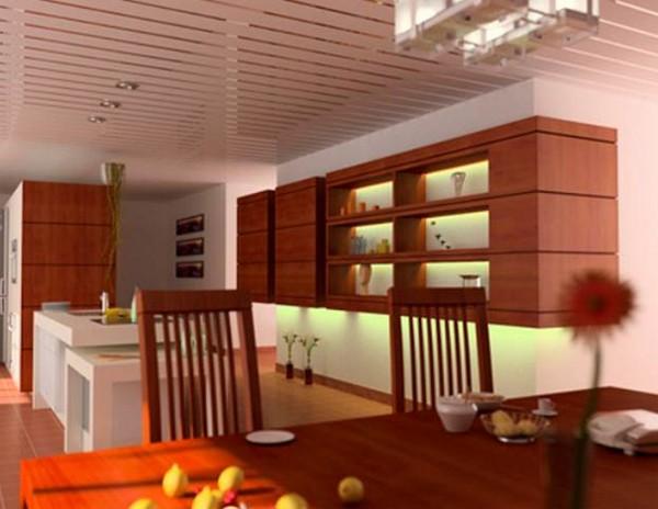 виды потолков на кухне фото