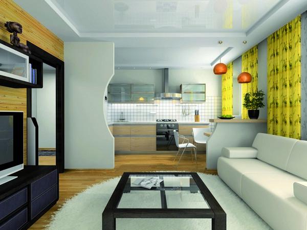 зонирование кухни и комнаты фото