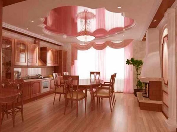двухуровневые натяжные потолки на кухне фото
