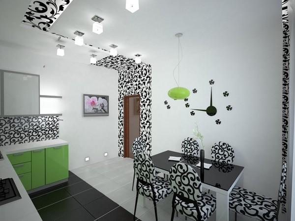 дизайн кухни в черно белых тонах фото