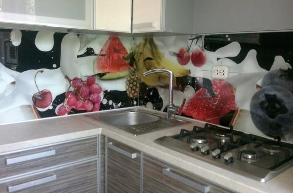 кухонные фартуки из стекла с фотопечатью фото