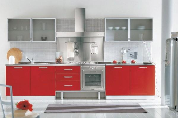 кухня белый верх красный низ фото