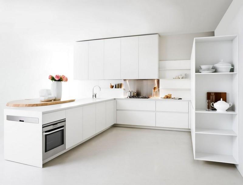 белая кухня в стиле минимализм фото