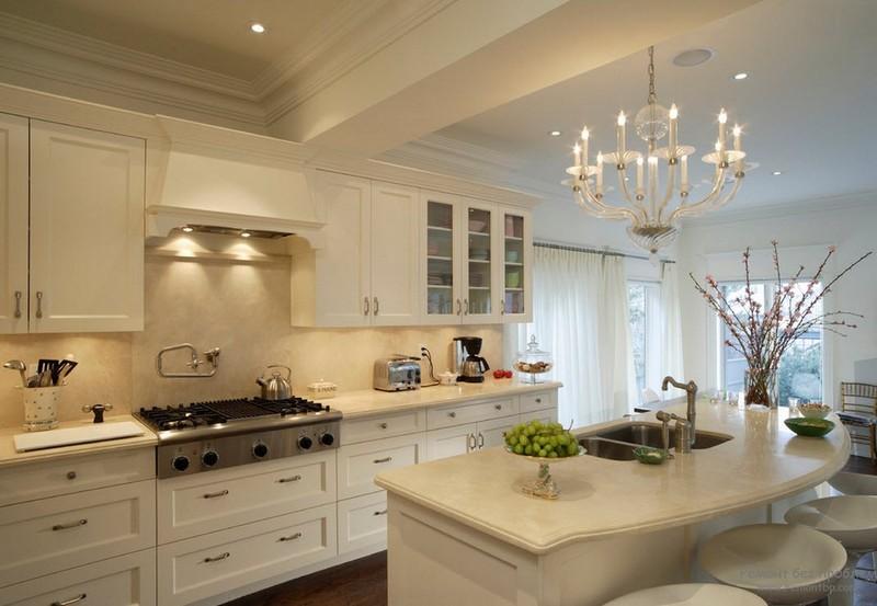 бело бежевая кухня фото