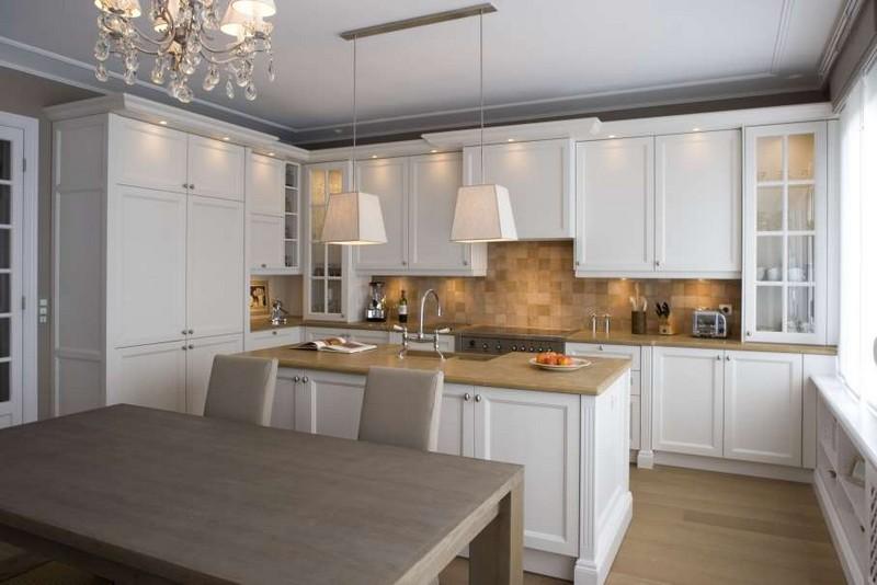 дизайн кухни в белом цвете фото