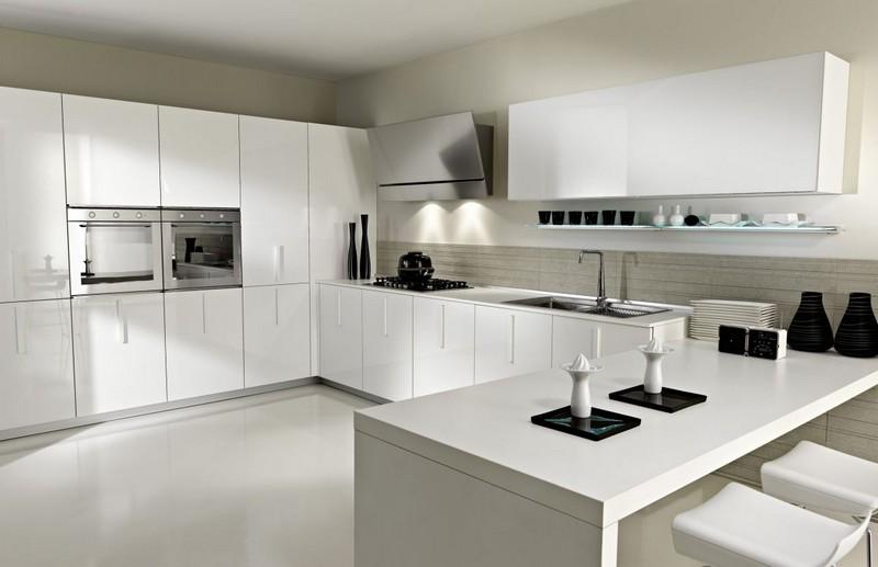 дизайн современной белой кухни в стиле минимализм фото