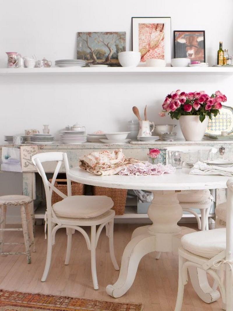кухня в белых тонах в стиле шебби шик фото