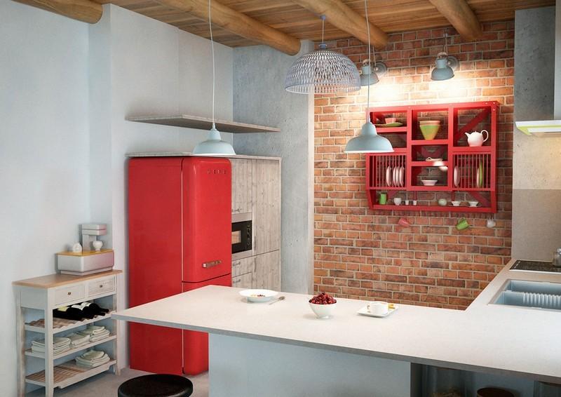 кухня в стиле лофт в квартире фото