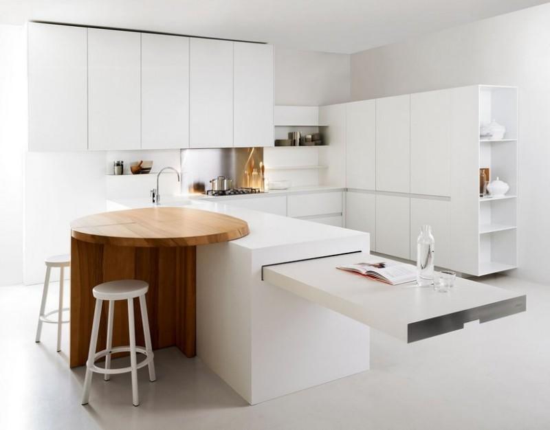 оформление белой кухни в стиле модерн фото