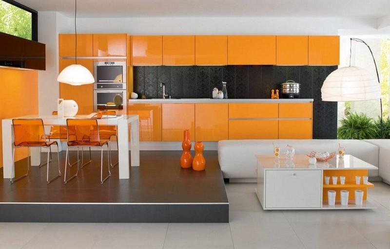 серо оранжевая кухня фото