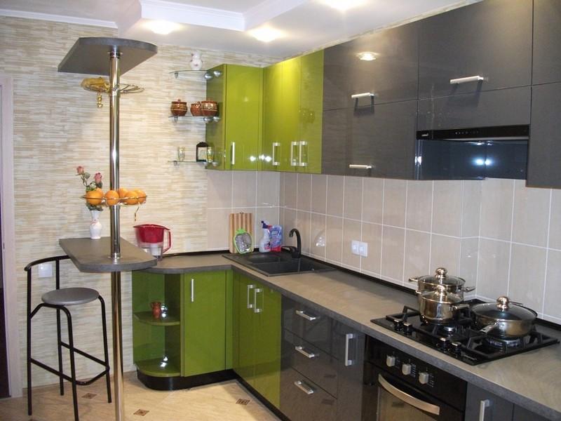 серо зеленая кухня фото