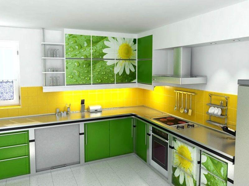 зелено желтая кухня фото