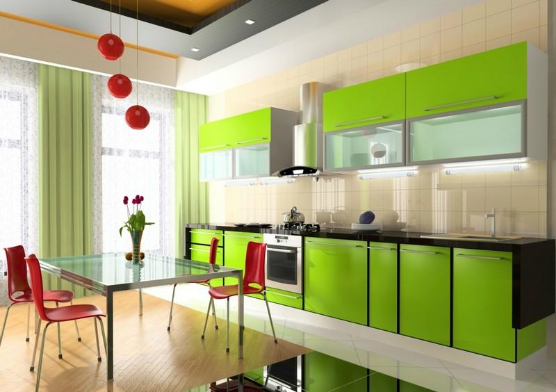 фисташковый цвет в интерьере кухни фото