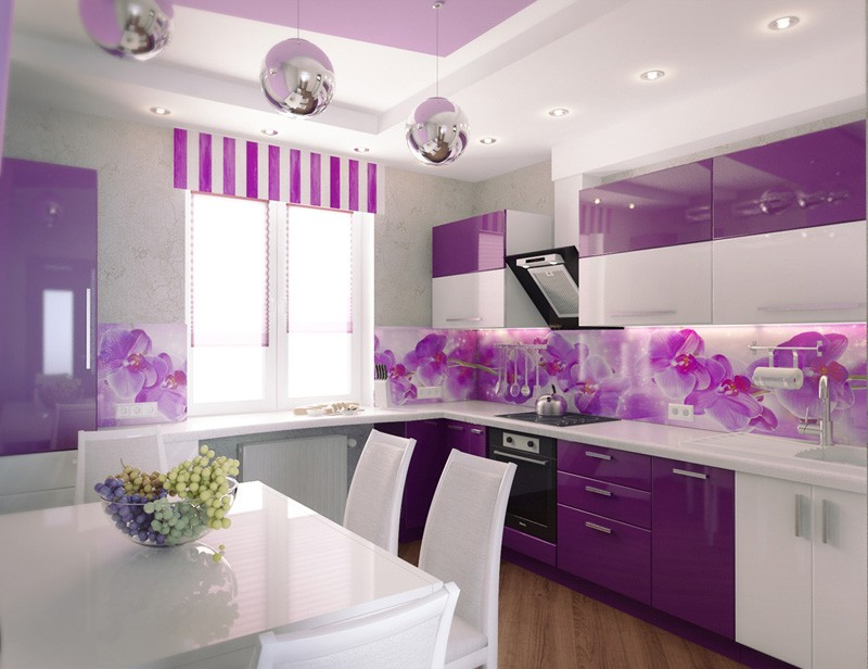 интерьер фиолетовой кухни фото