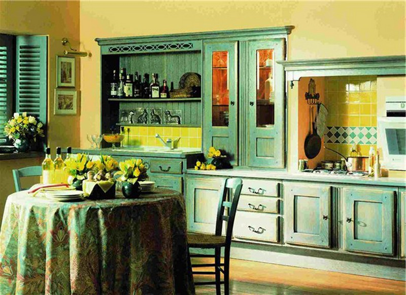 кухня в фисташковых тонах фото