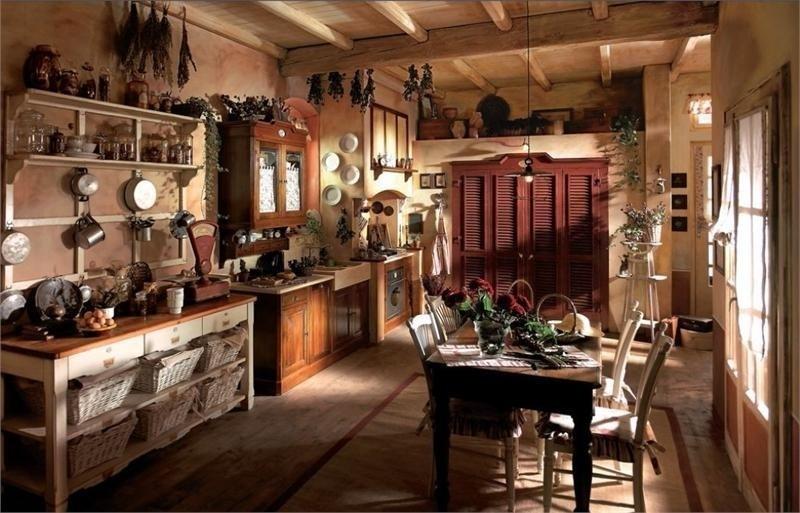 кухня в загородном доме в стиле кантри фото