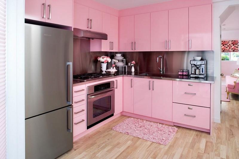 розовый цвет в интерьере кухни фото
