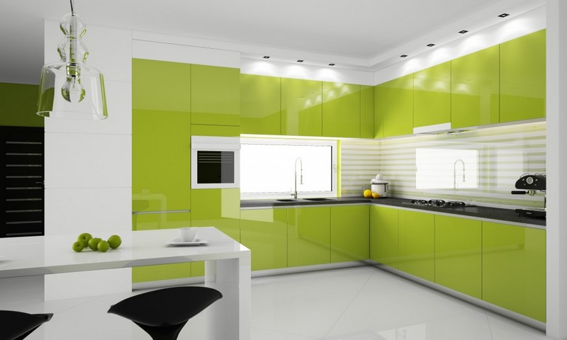 бело салатовая кухня фото