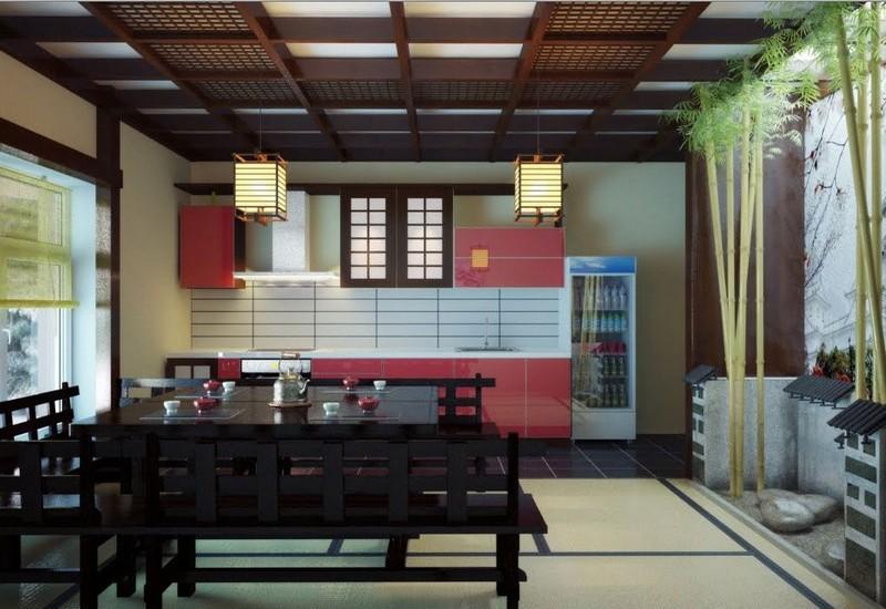 черная кухня в японском стиле фото