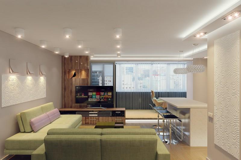 интерьер кухни гостиной в современном стиле фото