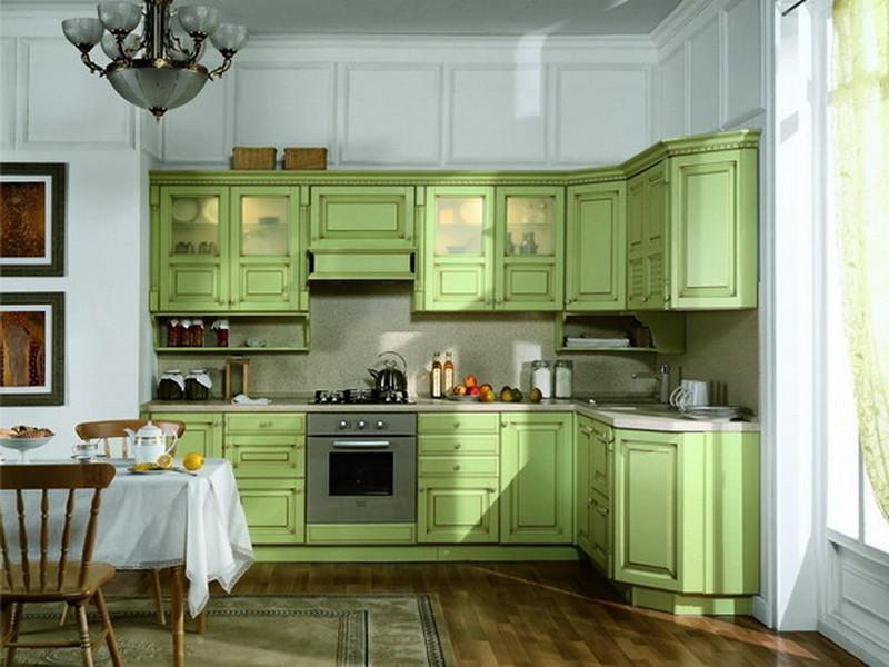 интерьер кухни салатовый фото