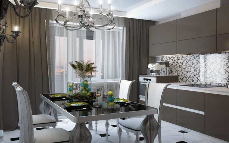 кухня гостиная в стиле арт деко фото