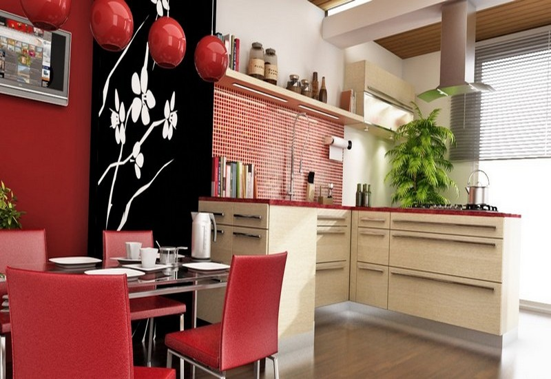 кухня гостиная в японском стиле фото