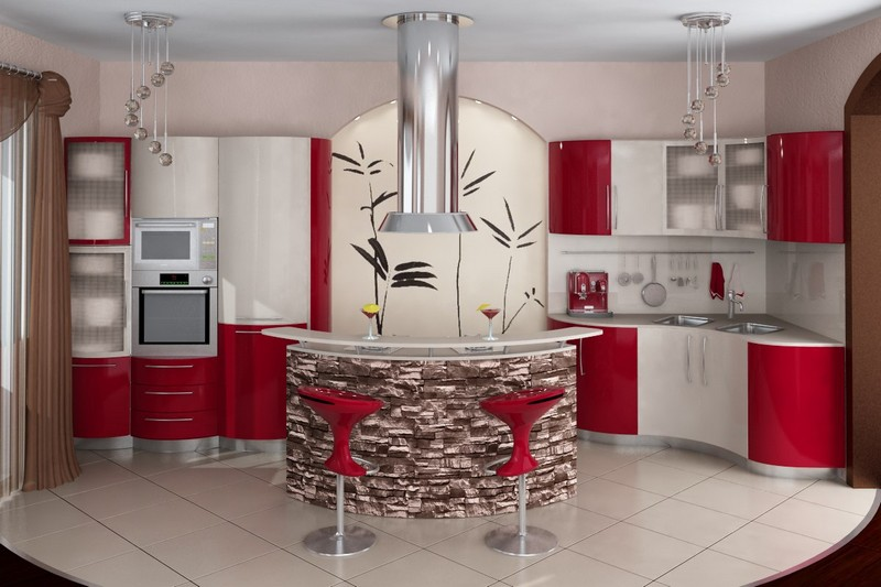 кухня красного цвета фото