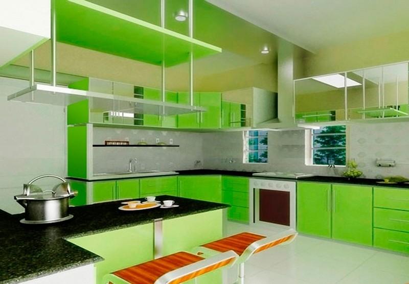 кухня в салатовых цветах фото