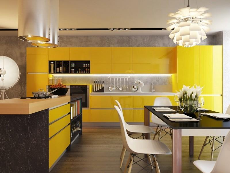 кухня в желтом цвете фото