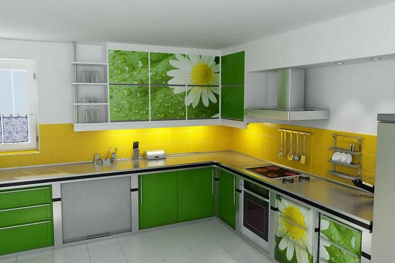 желто салатовая кухня фото