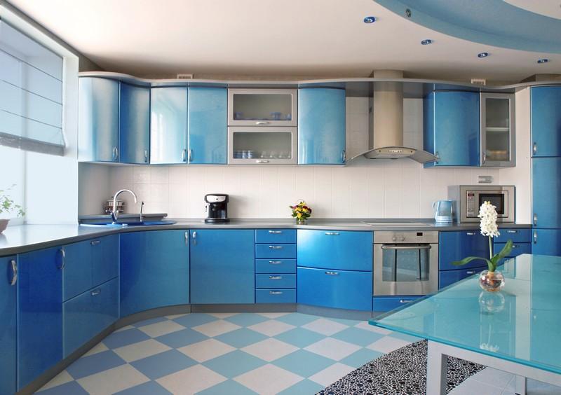 бело голубая кухня фото