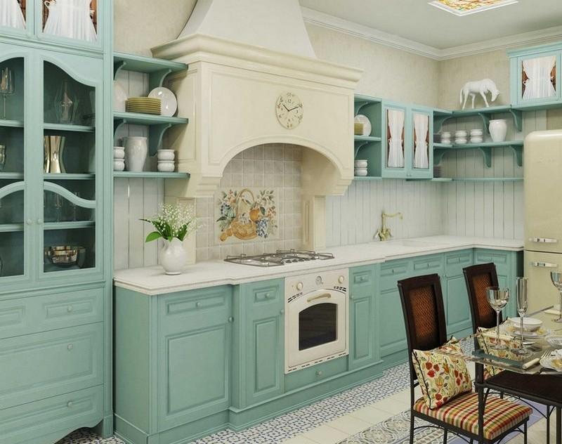 дизайн бирюзовой кухни фото