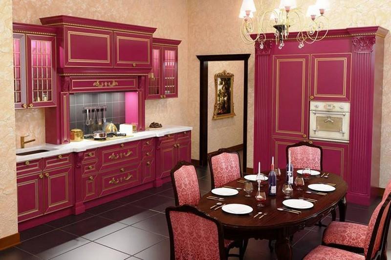 дизайн бордовой кухни фото