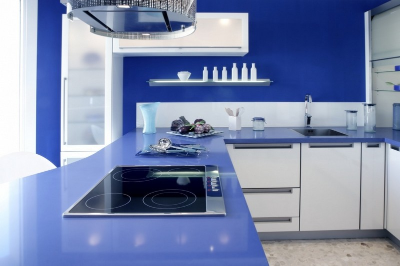 голубая кухня в интерьере фото