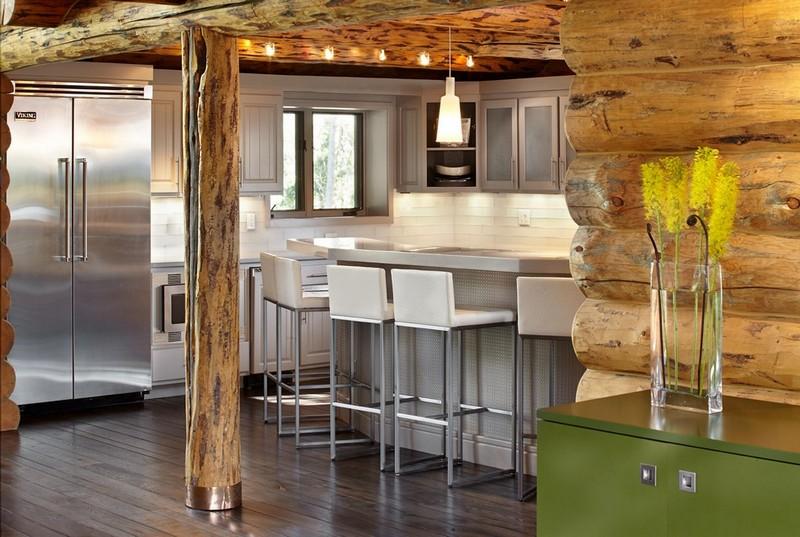 интерьер кухни в деревянном доме фото