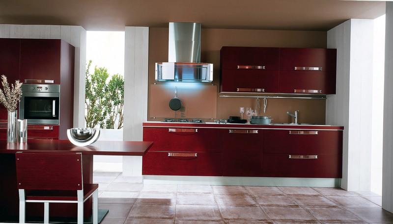 кухни бордового цвета фото