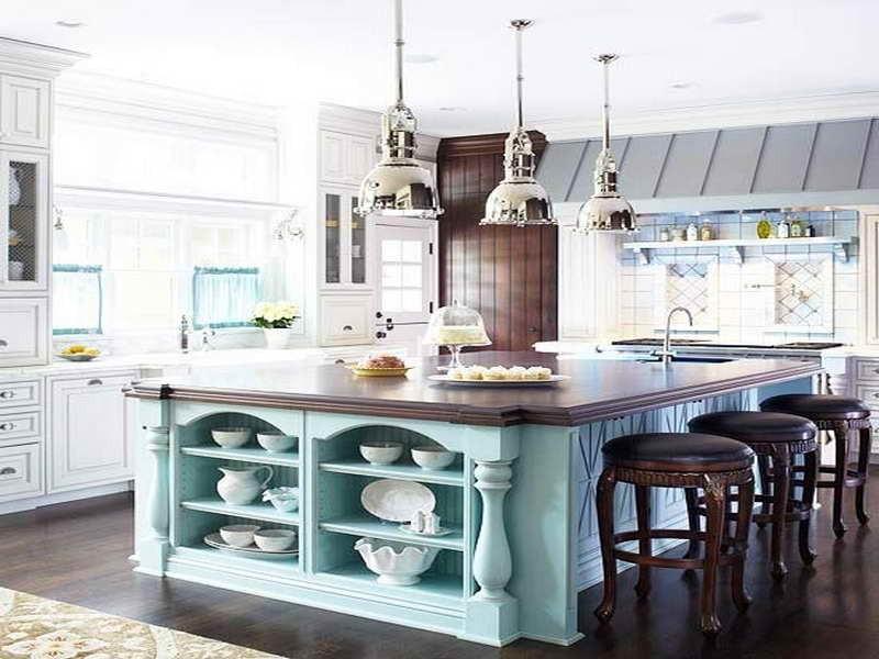 кухня голубого цвета фото