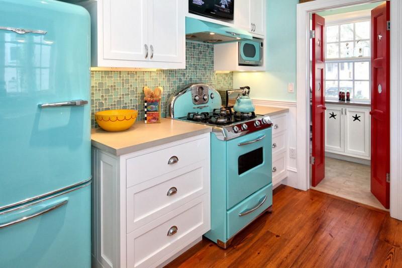 ретро дизайн кухни фото