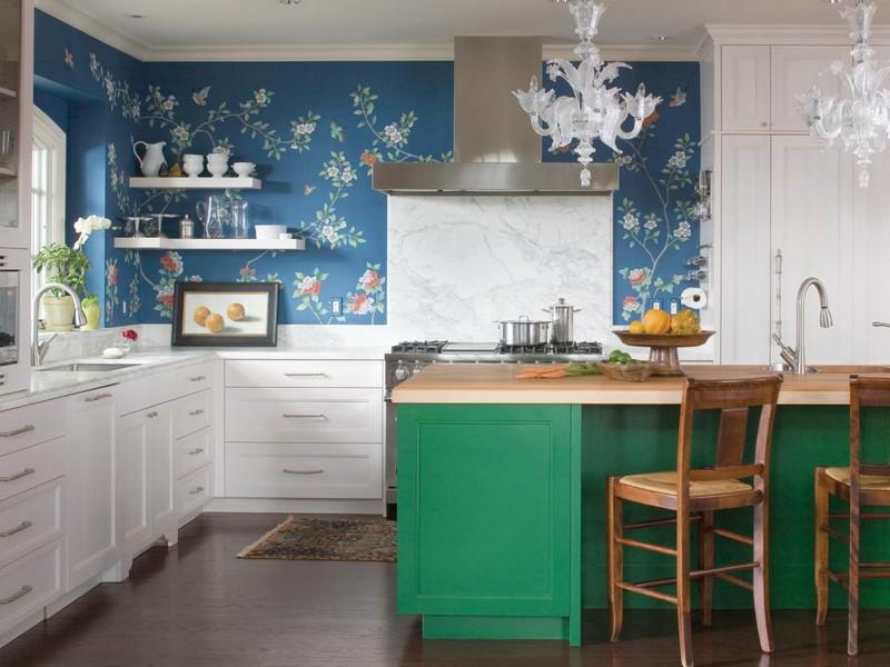 зелено голубая кухня фото