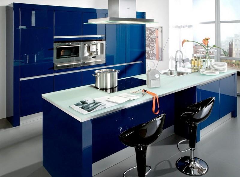 сине белая кухня фото