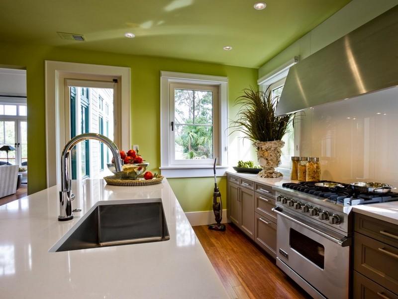 дизайн кухни цвета лайм фото
