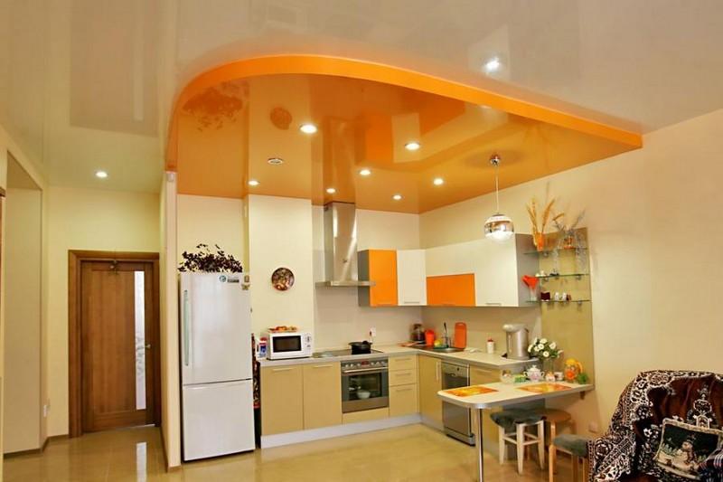 дизайн подвесного потолка на кухне фото