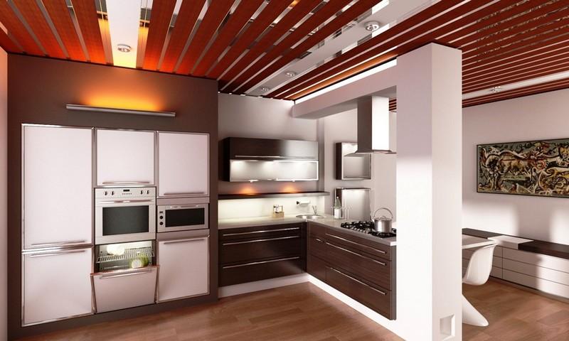 дизайн потолка на кухне из пластиковых панелей фото