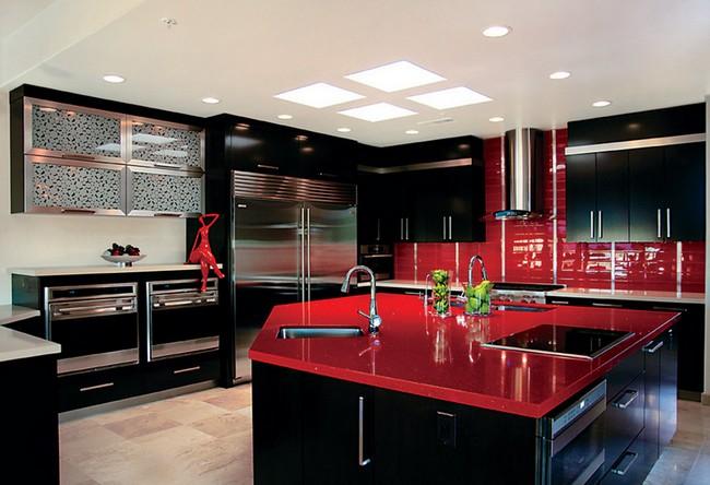 дизайн черно красной кухни фото