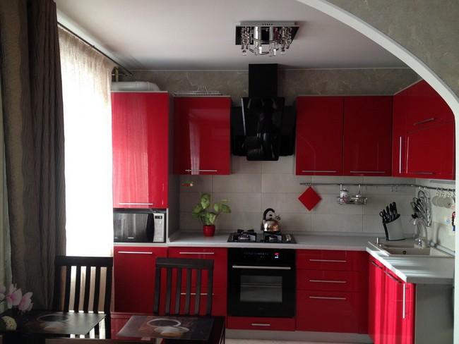 красно черная кухня фото