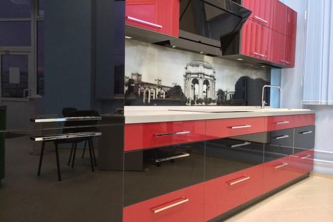 кухня в черно красном цвете фото