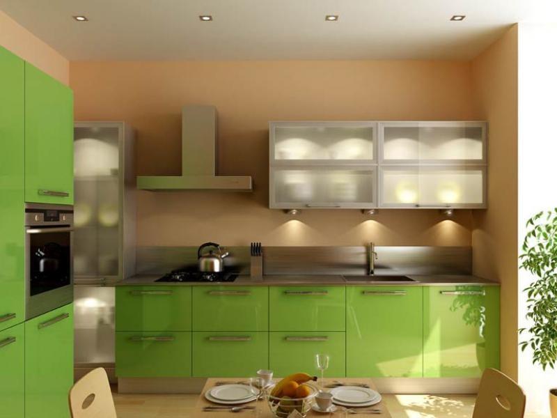 кухня бежевая с оливковым фото