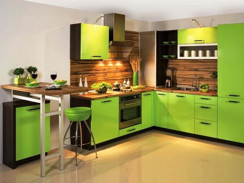 оливковая кухня с коричневым фото
