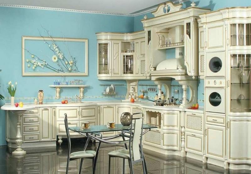 сочетание цветов в интерьере кухни фото